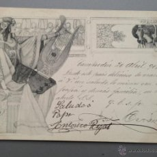 Postales: POSTAL ILUSTRADA MUJER MODERNISTA, CIRCULADA EN 1901. MODERNISMO, ART NOUVEAU, ORIENTALISTA. Lote 39299758