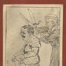 Postales: CARICATURA SATÍRICA DE CANALEJAS, DE TORERO, Y FRAILE CORTÁNDOLE LA COLETA. LEY DEL CANDADO 1910. Lote 40658046
