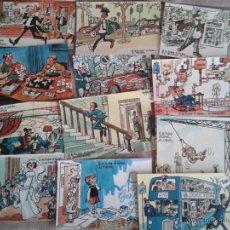 Postales: 12 POSTALES HUMORISTICAS DE DIBUJOS HUMORISTICOS DE MINGOTE DEDICADOS A LA LOTERIA NACIONAL. AÑOS 70. Lote 40894514