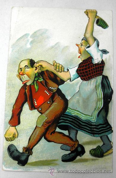 Antigua Postal Caricatura Pareja Peleando Principios De Siglo Relieve
