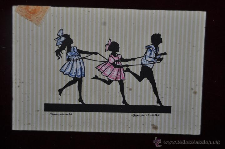 POSTAL ILUSTRADA POR MANNI GROSZE. SERIE SILUETAS (Postales - Dibujos y Caricaturas)