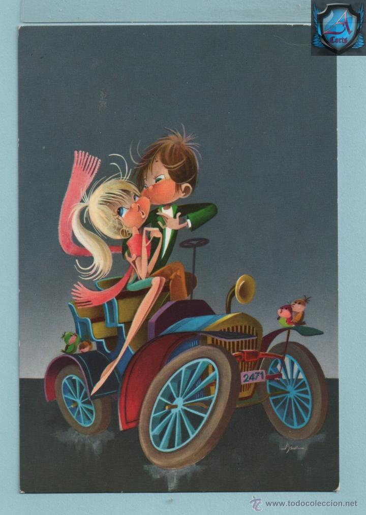 0670 POSTAL PAREJA ENMORADOS CON COCHE EDITADA C Y Z ESCRITA VER FOTO ADICIONAL (Postales - Dibujos y Caricaturas)
