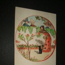 Postales: POSTAL MUJER COGIENDO ROSAS PINTADA A MANO AÑOS 20. Lote 43252809