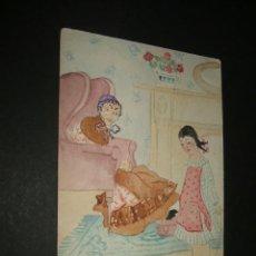 Postales: POSTAL NIÑA CON ABUELA Y PERRO SALCHICA ENRROSCADO PINTADA A MANO AÑOS 20. Lote 43252822