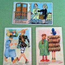 Postales: LOTE CINCO POSTALES DIBUJOS MUY ANTIGUAS. Lote 43895191