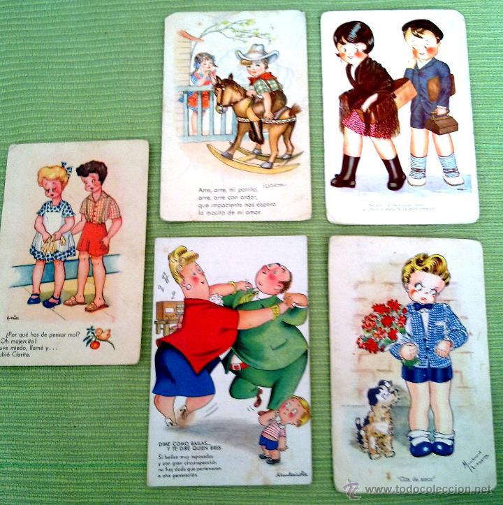 LOTE CINCO POSTALES DIBUJOS MUY ANTIGUAS (Postales - Dibujos y Caricaturas)