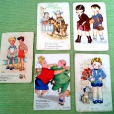 Postales: LOTE CINCO POSTALES DIBUJOS MUY ANTIGUAS. Lote 43895201