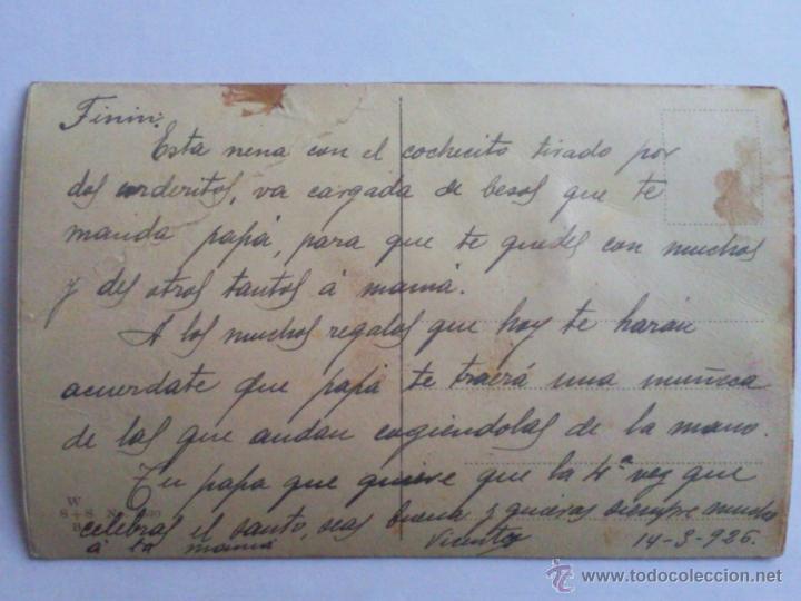 Postales: POSTAL NIÑA MONTADA EN UN CARRO TIRADO POR DOS CORDEROS, AÑO 1926 - Foto 2 - 44599870