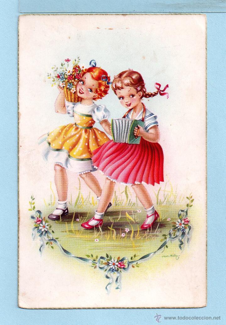 1032 POSTAL BONITA NIÑAS CANTANDO Y TOCANDO ACORDEON EDICION C Y Z ESCRITA VER FOTO ADICIONA (Postales - Dibujos y Caricaturas)