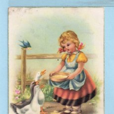 Postales: 1033 POSTAL BONITA NIÑA DAR DE COMER A LAS OCAS EDICION C Y Z ESCRITA EL AÑO 1954 VER FOTO ADICIONA. Lote 44865974