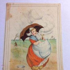 Postales: POSTAL DIBUJO MUJER PARAGUAS ESCRITA 1950 CMB SERIE 109. Lote 45579917