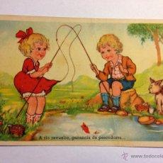 Postales: POSTAL NIÑOS PESCADORES EDICIONES GLORIA MILL ESCRITA 1945. Lote 45644204