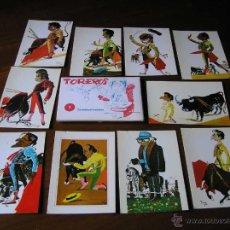 Postales: CARPETA CON 10 POSTALES CARICATURAS DE TOREROS - TOREROS DE DÁVILA 1 TARJETOCARICATURAS. Lote 45900167