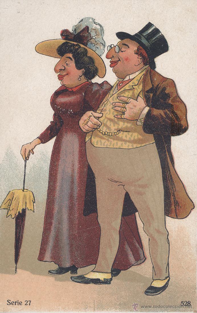 PAREJA CARICATURESCA. DIBUJO. POSTAL COLOR ALEMANA, SIN CIRCULAR, C. 1920. (Postales - Dibujos y Caricaturas)
