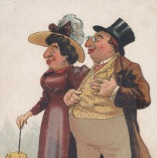 Postales: PAREJA CARICATURESCA. DIBUJO. POSTAL COLOR ALEMANA, SIN CIRCULAR, C. 1920.. Lote 46301137