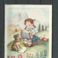 Postales: POSTAL DE FELICITACION ANTIGUA - NIÑA Y PERRO ESCRITA EL 11 - 10 - 1953. Lote 46679922