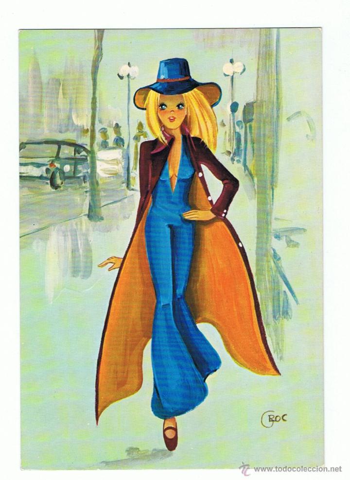 postal dibujo de mujer joven caminando rf 739  Comprar Postales