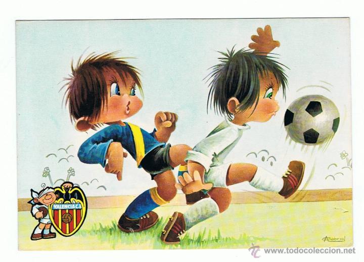 Postal Dibujo De Ninos Jugando Al Futbol Valen Comprar Postales