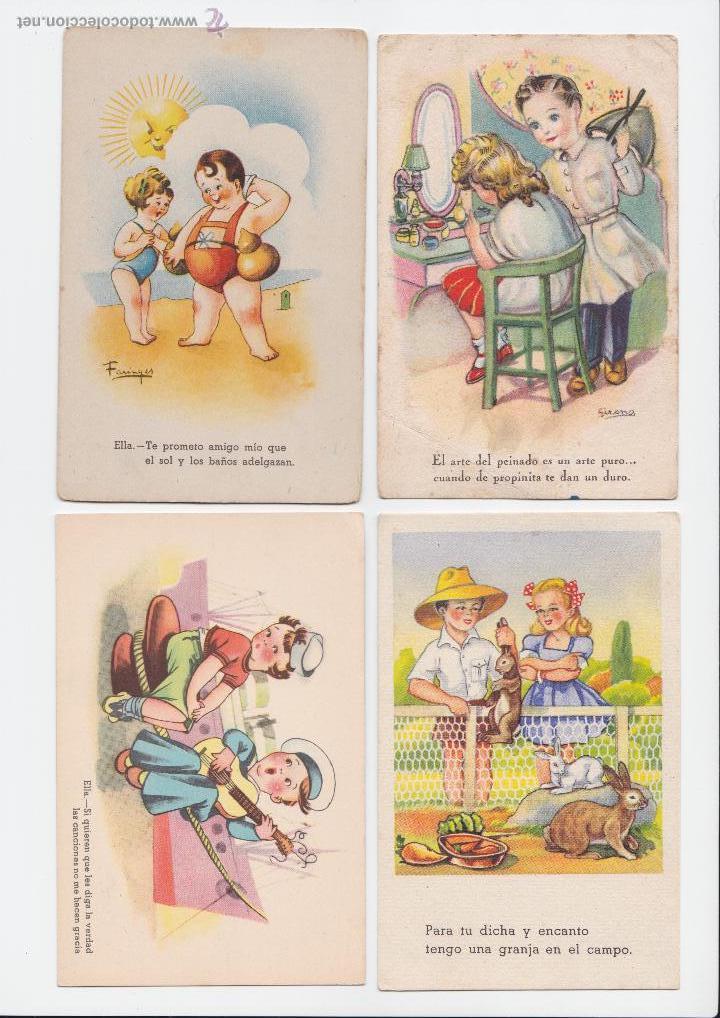P 403 lote 4 postales dibujos ni os a os 50 comprar - Ilustraciones infantiles antiguas ...