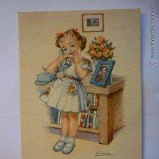 Postales: POSTAL EDICIONES DE ARTE. SERIE MELODIAS EN BOGA. ILUSTRADA GIRONA. CIRCULADA. 1947. Lote 48691446
