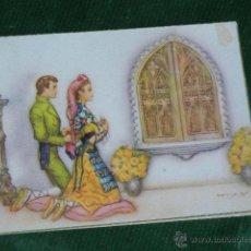 Postales: MONTSERRAT - ORANDO ANTE LA VIRGEN - VENTANA TROQUELADA - EDICIONES FREIXAS - HACIA 1960. Lote 48694460