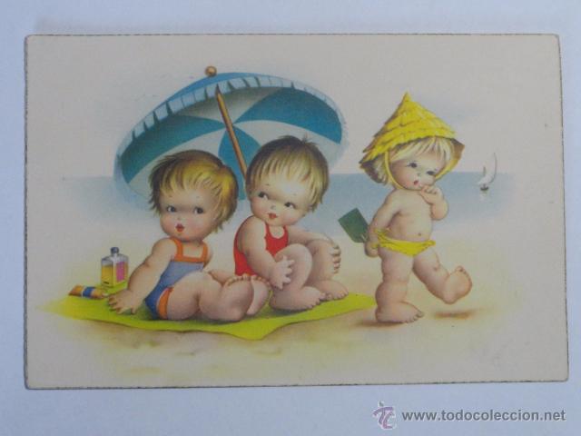 Postal Infantil Dibujo Con Niños En La Playa Comprar Postales