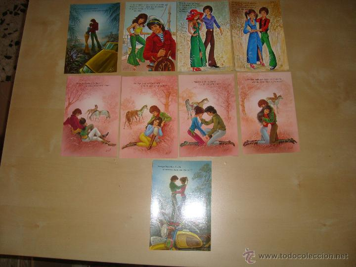 LOTE DE 9 POSTALES DIBUJOS ROMANTICOS (Postales - Dibujos y Caricaturas)