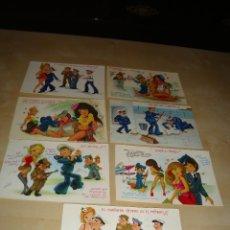 Postales: LOTE 7 POSTALES DIBUJOS CHICAS Y MARINEROS. Lote 49115872
