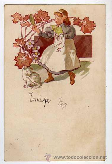 ANTIGUA POSTAL MODERNISTA. CIRCULADA AÑOS 1900S (Postales - Dibujos y Caricaturas)