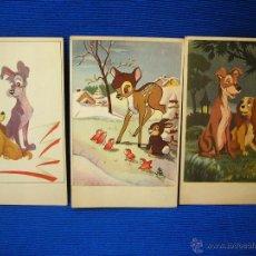 Postales: WALT DISNEY PORTALES LOTE DE 3 POSTALES 1956-PRINTED IN SPAIN. Lote 49607870