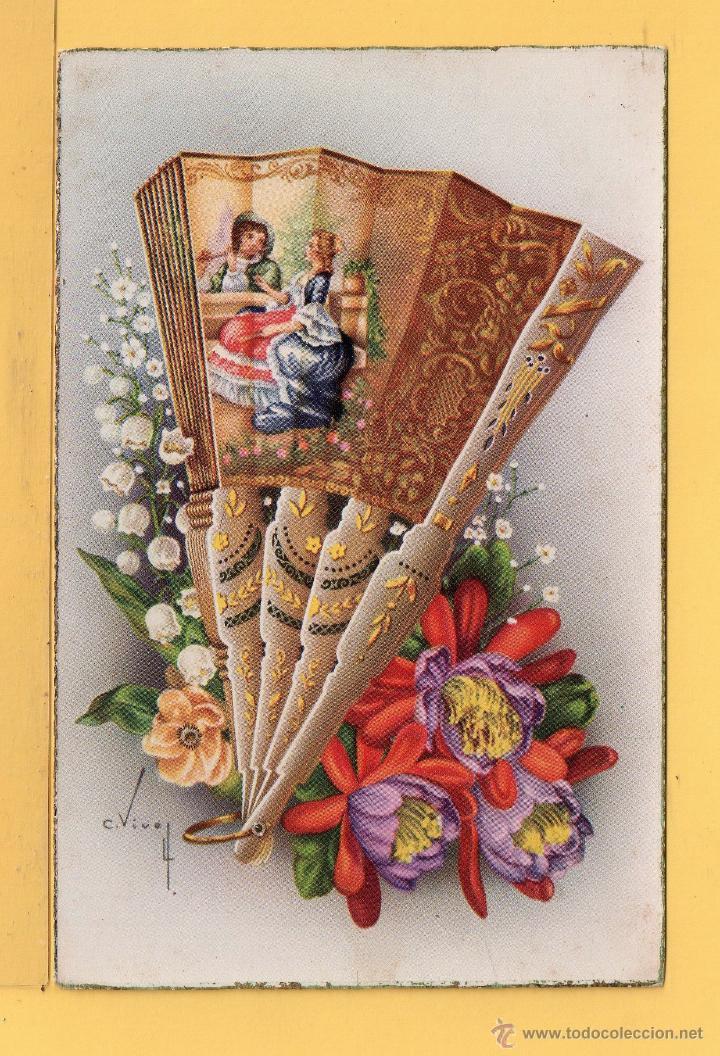 POSTAL DE DIBUJO AVANICO DECORRADO DIBUJO C- VIVES EDITOR C. Y Z. ESCRITO EN AÑO 1953 (Postales - Dibujos y Caricaturas)