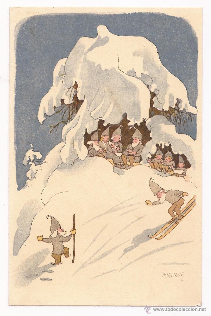 POSTAL PRO JUVENTUTE / WINTER / GRAFH WERKSTÄTTEN GREB.FRETZ / 1918 / ZURICH / SIN USAR (Postales - Dibujos y Caricaturas)