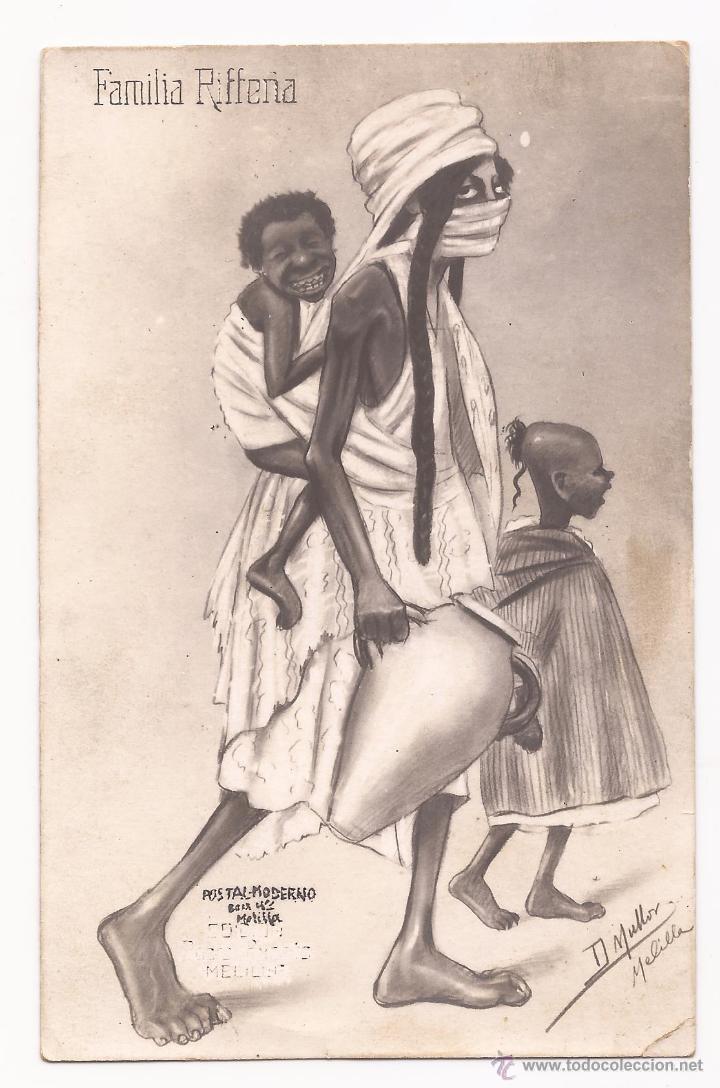 POSTAL FAMILIA RIFFEÑA / ILUSTRADA POR MULLOR / MELILLA / SIN USAR (Postales - Dibujos y Caricaturas)