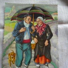 Postales: TARJETA POSTAL - TARJEFHER - ANCIANOS BAJO LA LLUVIA. Lote 51119130
