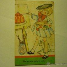 Postales: POSTAL DIBUJOS NIÑA PINTORA.-DIBUJO MARIA CLARET - ESCRITA. Lote 51544863