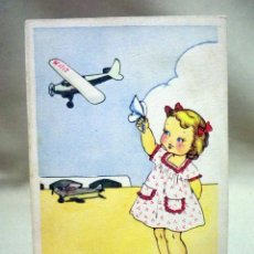 Postales: TARJETA POSTAL, CARICATURESCA, NIÑA, AVION, SERIE 55, ANA, 1952. Lote 51581100