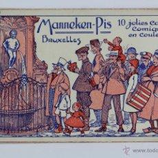 Postales: P-2749. MANNEKEN-PIS. 10 JOLIES CARTES COMIQUES EN COULEURS. BRUXELLES.SERIE I.CARTE DÉPOSÉE ALBERT.. Lote 51819456