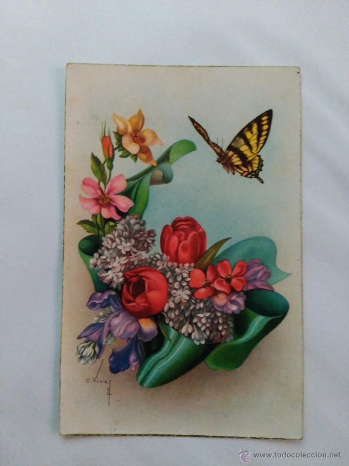 Antigua Postal De Dibujo De Mariposa Y Flores Vendido En Venta