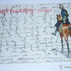 Postales: ANTIGUA POSTAL ILUSTRADA CON CARICATURA MILITAR. ARTILLERIA MONTADA. ALFONSO XIII. AÑOS 1900S. Lote 52787278