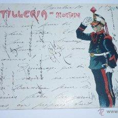 Postales: ANTIGUA POSTAL ILUSTRADA CON CARICATURA MILITAR. ARTILLERIA MONTADA. ALFONSO XIII. AÑOS 1900S. Lote 52787294