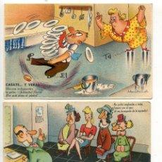 Postales: LOTE DE TRES POSTALES HUMORÍSTICAS DE LOS AÑOS 40. HUMOR. Lote 53053385