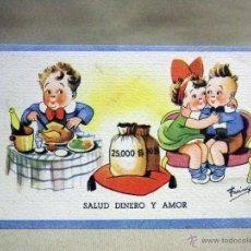 Postales: ANTIGUA POSTAL CARICATURESCA, NIÑOS, SALUD, DINERO Y AMOR, FARINGES, CMB, CIRCULADA, VALENCIA, 1942. Lote 53183953