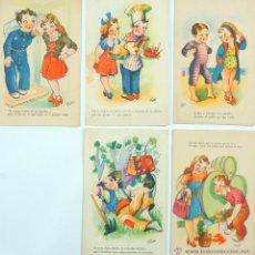 Postales: LOTE DE 5 POSTALES INFANTILES ILUSTRADAS EDICIONES TRIO - AÑOS 40'. Lote 53811004
