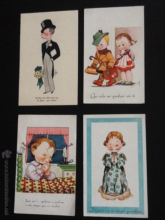Postales: POSTALES ANTIGUAS CON DIBUJOS 4 postales sin circular - Foto 2 - 53811585