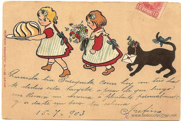 POSTAL CIRCULADA AÑO 1903 A CARTAGENA (MURCIA) - GESETZLICH GESCHÜTZT Nº 1129 ERIKA (Postales - Dibujos y Caricaturas)