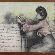 Postales: POSTAL ILUSTRADA POR RAMON CASAS. MUJER. CIRCULADA EN 1905. THOMAS. . Lote 54093989