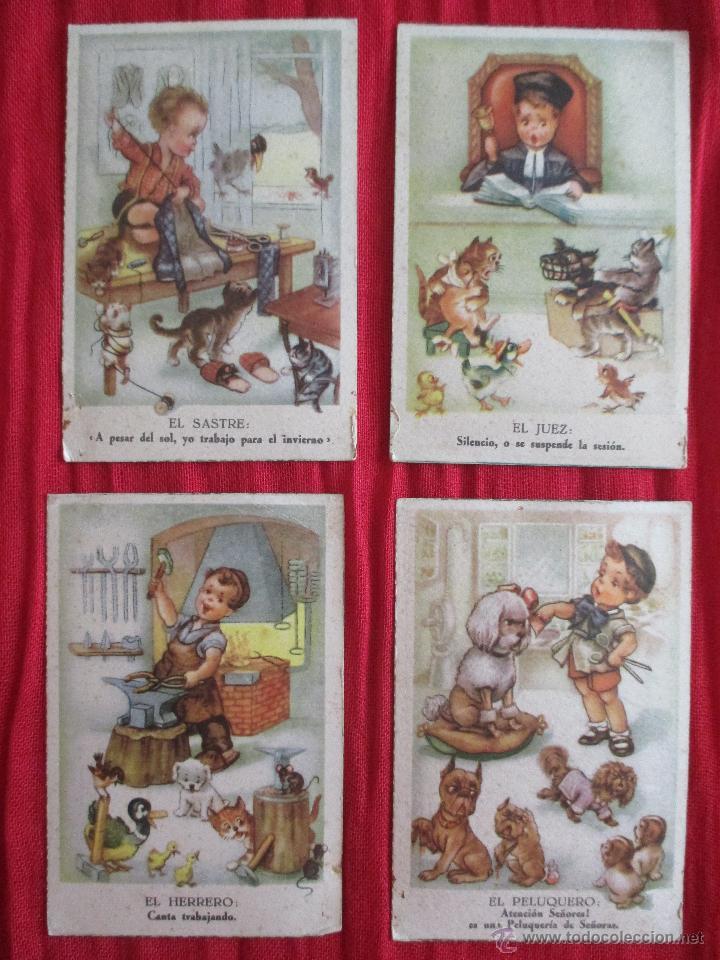 LOTE 4 POSTALES MICROCROM S/ 700/ 10-7-9-3, EL JUEZ, EL SASTRE, EL PELUQUERO, EL HERRERO,FOTO (Postales - Dibujos y Caricaturas)