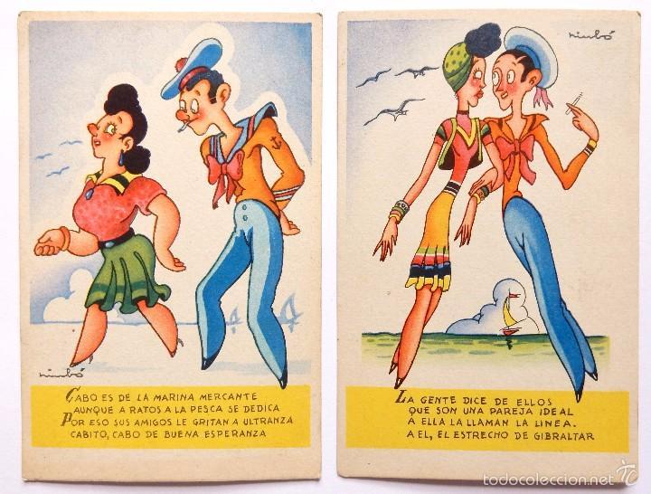 LOTE 2 POSTALES ILUSTRADAS POR NIUBO. SERIE 1. EDICIONES FUN AÑOS 40 POSTAL MARINERO (Postales - Dibujos y Caricaturas)