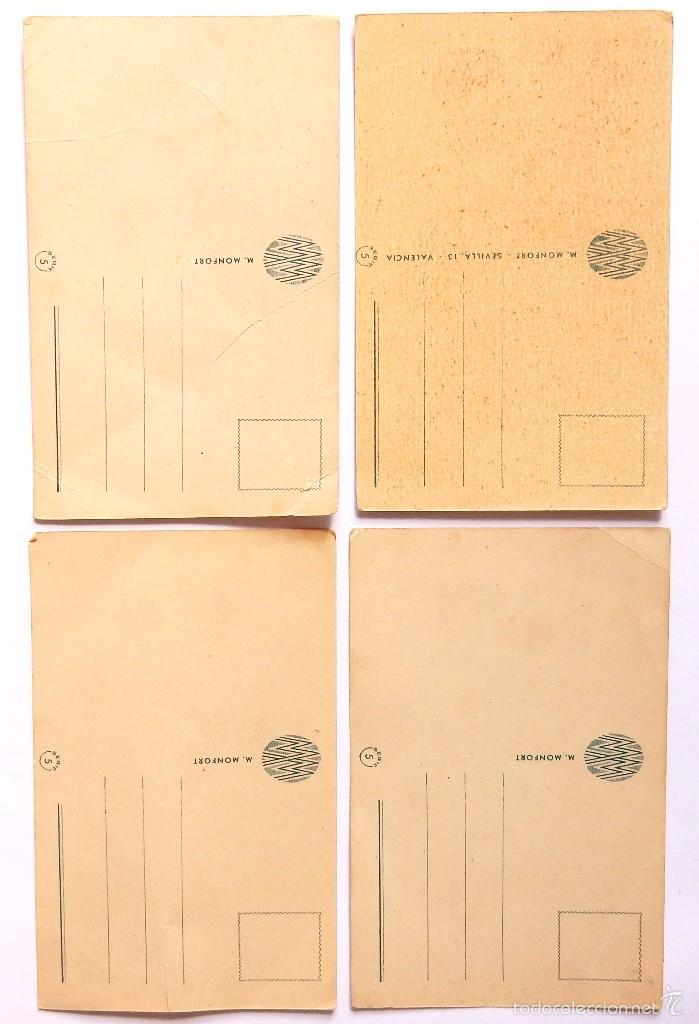 Postales: LOTE 4 POSTALES ILUSTRADAS POR ADIE (A. DIE) SERIE 5 M. MONFORT POSTAL AÑOS 50 - Foto 2 - 55103464