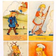 Postales: LOTE 4 POSTALES ILUSTRADAS POR ADIE (A. DIE) SERIE 1 JDP VALENCIA POSTAL AÑOS 50. Lote 55103522